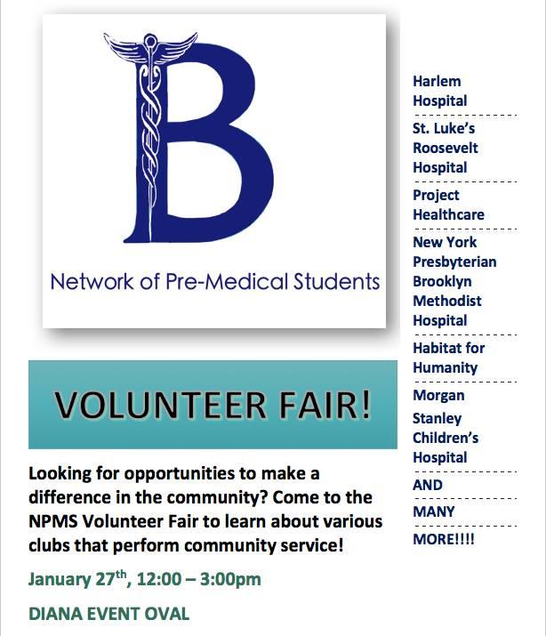 Volunteer Fair Friday | Barnard Network of Pre-Medical Students